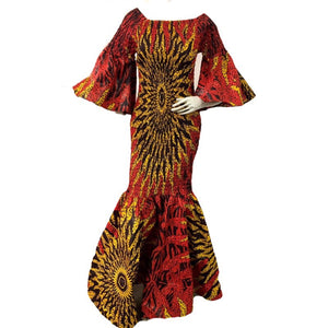 Angie Red African  Print Maxi Dress - Zabba Designs African Clothing Store
