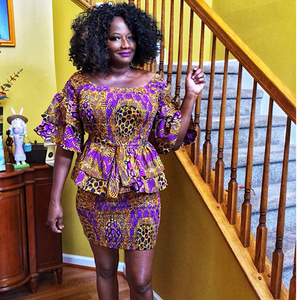 Cocoa Latte African Print Midi Skirt Set Two Piece - Zabba Designs African Clothing Store