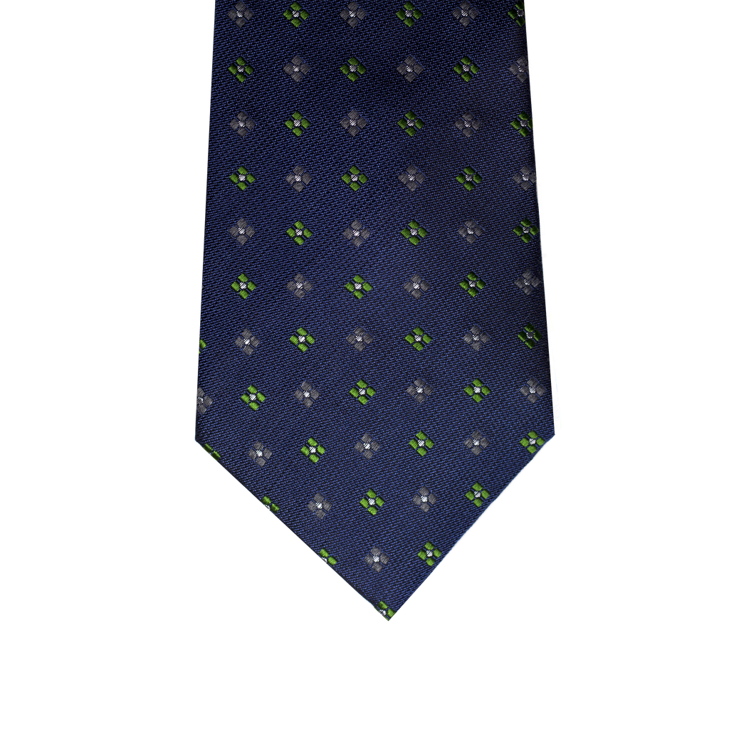 Woodstock Abstract Silk Wool Tie, Olive Green / Grey / Green