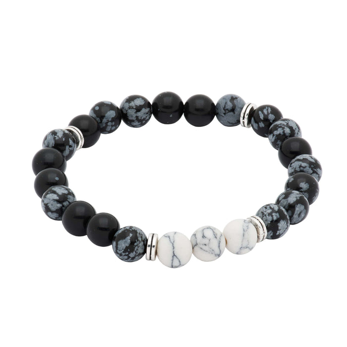 Black & White Onyx Beaded Bracelet
