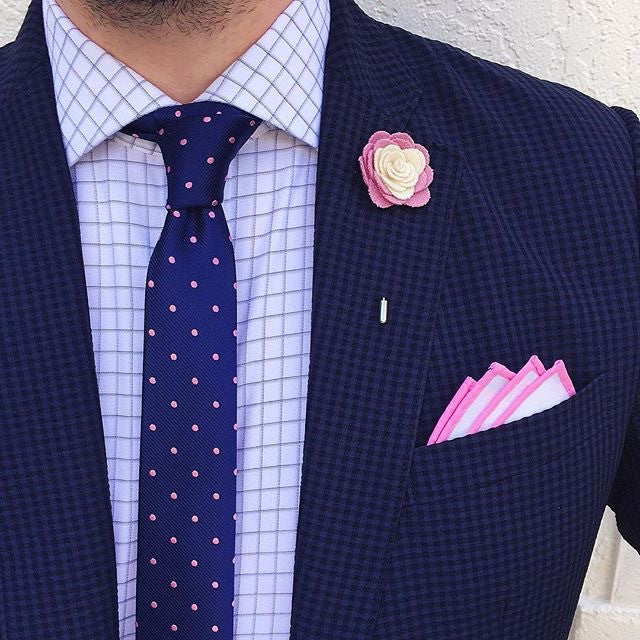 Pink and White Felt Lapel Flower