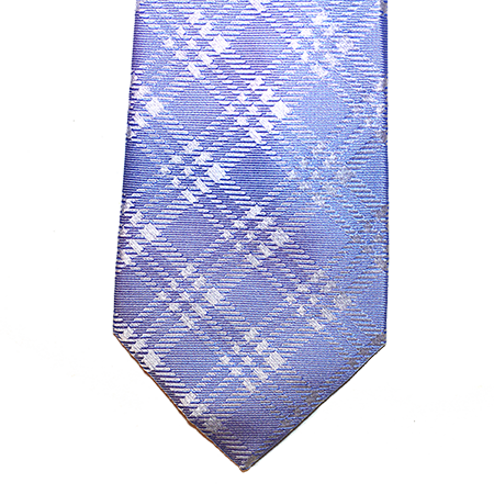 Blue plaid silk tie