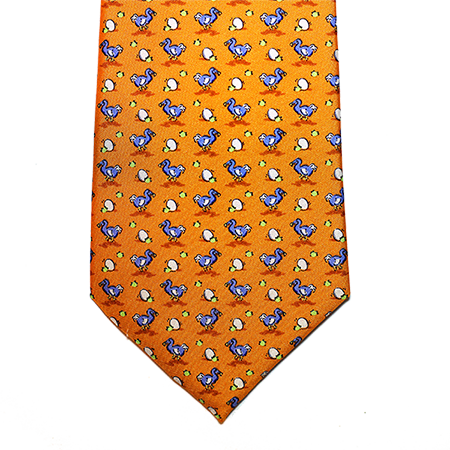 Eggs with Ducks Orange Printed Silk Tie