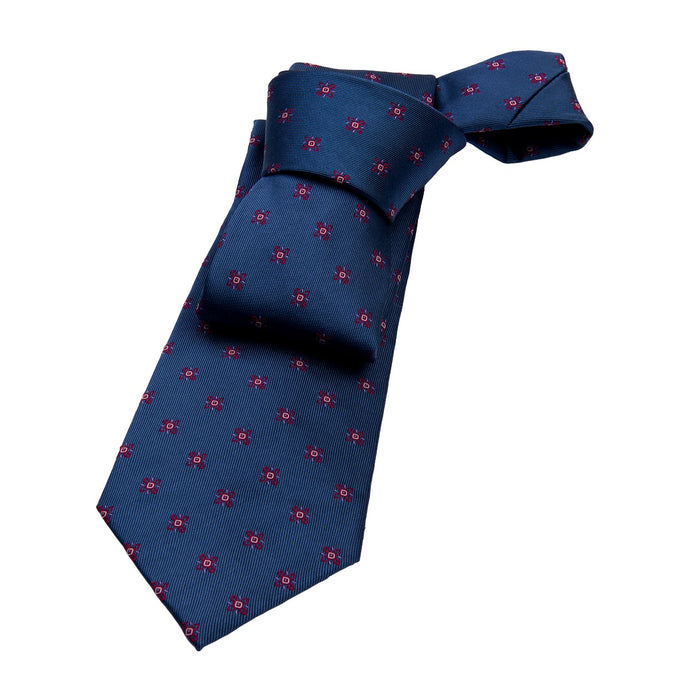 Blue & Red Abstract Silk Tie