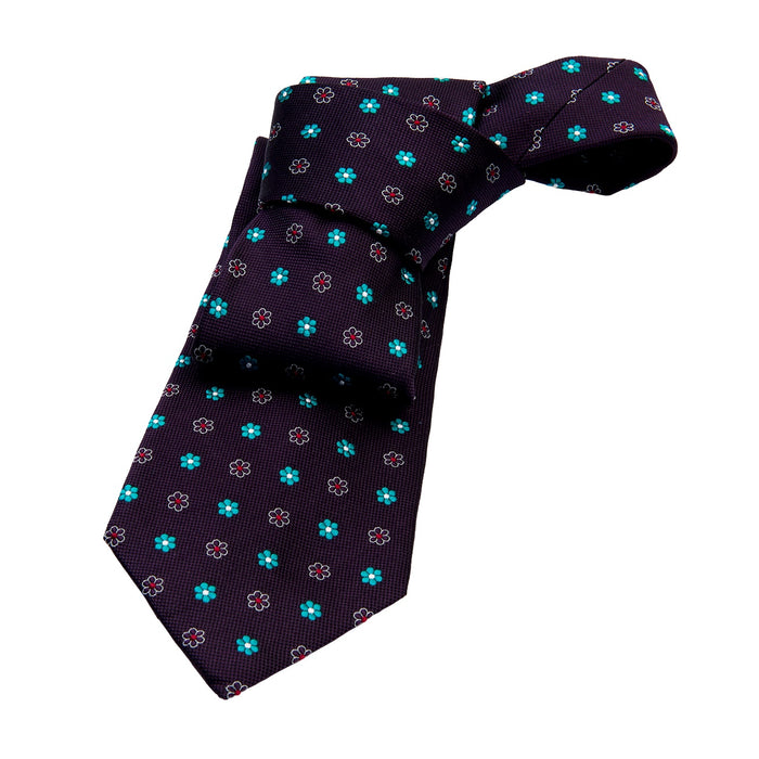 Purple & Turquoise Abstract Silk Tie