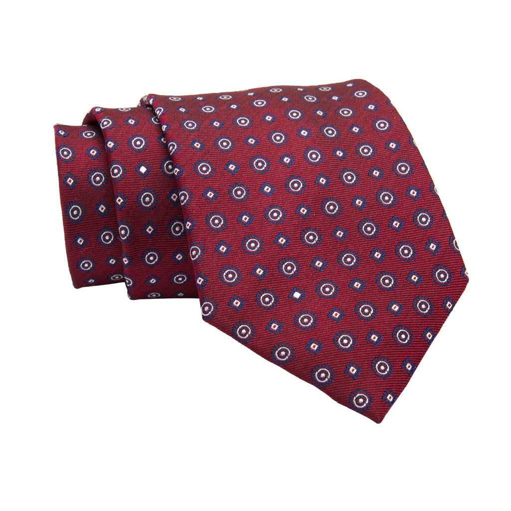 Ludlow Abstract Silk Tie, Red / Navy / Silver