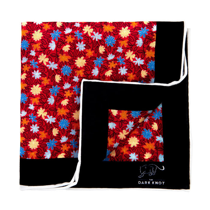 Red, Blue & Yellow Floral Linen Pocket Square