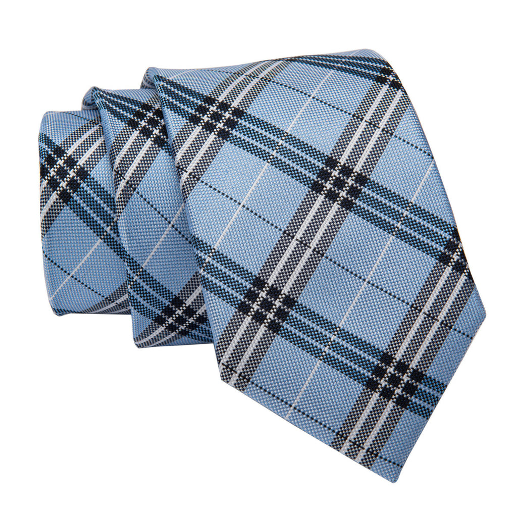 Blue Plaid Skinny Silk Tie