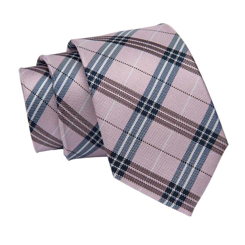 Pink w / /Bluish Grey Plaid Silk Tie