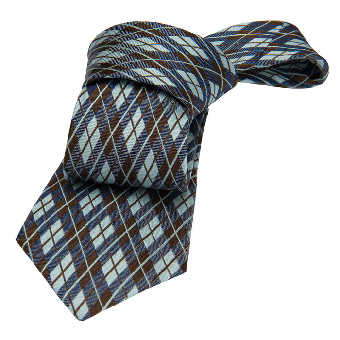 Turquoise & Brown Plaid Silk Tie