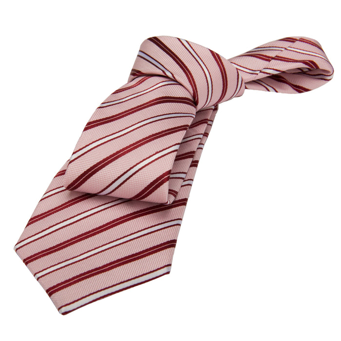 Pink and Reddish Brown Striped Silk Tie