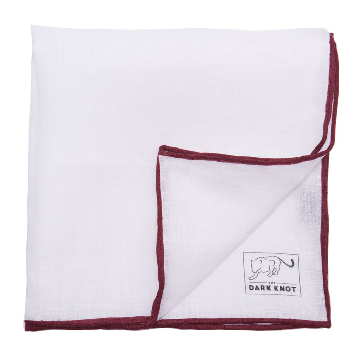 White Linen Pocket Square w/ hand rolled edges