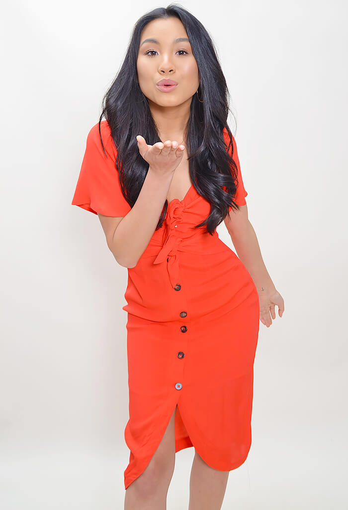 Cole Dress - Coral Red