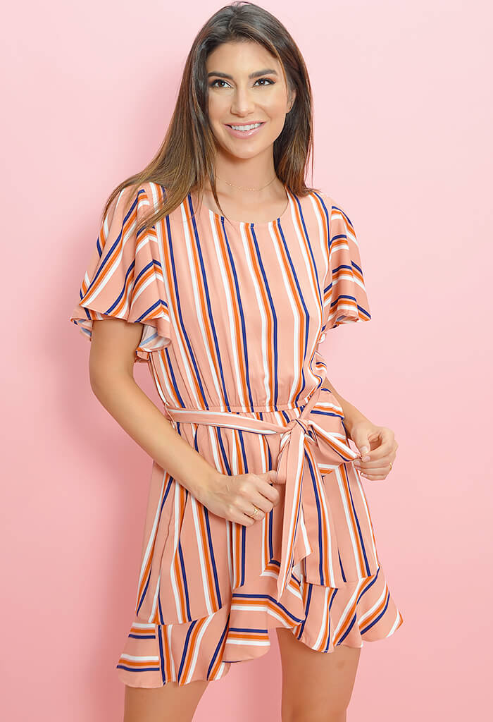 Stripe Three Ruffle Dress