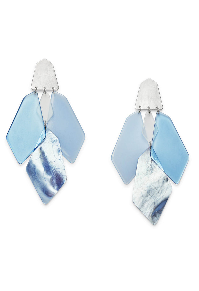 Gracie Bright Silver Statement Earrings in Sky Blue Mix