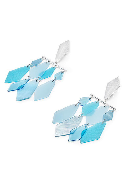 Hanna Bright Silver Statement Earrings In Sky Blue Mix