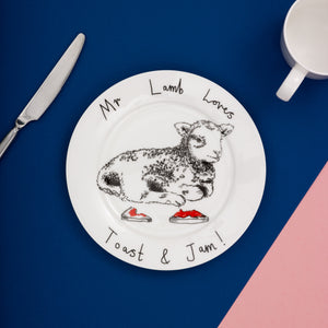 'Mr Lamb loves toast and jam' Side Plate