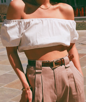 Na Nin Cotton Stella Crop Top / Multiple Colors Available / White, Chili, Navy & Onyx