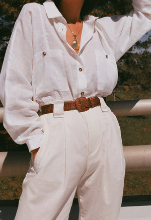 Na Nin Relaxed Gwen Button Up / White Linen
