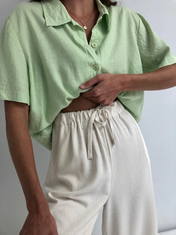 Vintage Faded Lime Linen Button Up