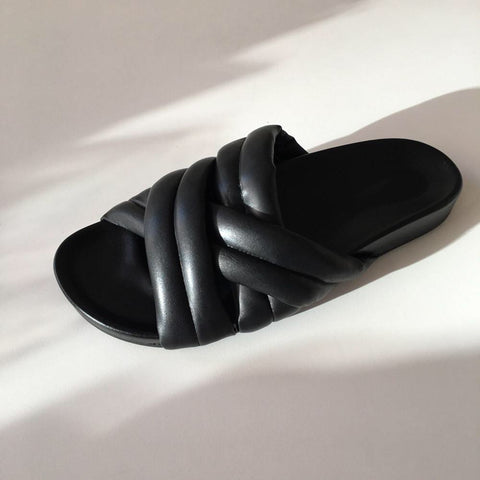 Slow and Steady Wins the Race Triple Strap Slide / Black