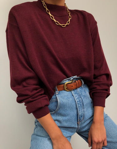 Vintage Burgundy Wool Mock Neck