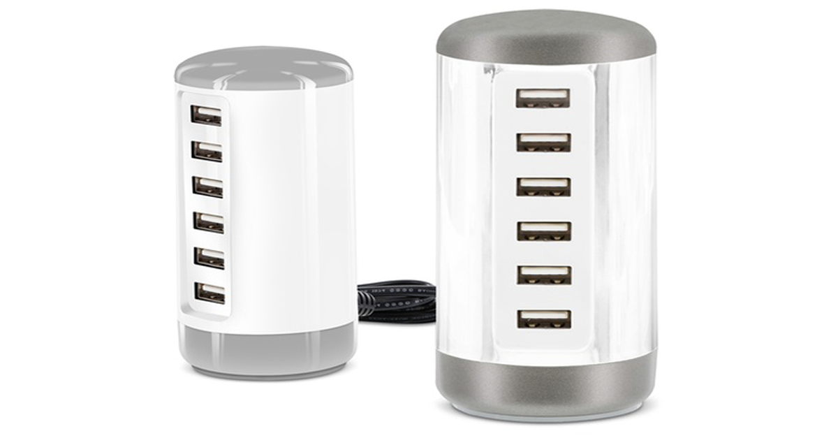 USB 6-ports Power Charger Tower for Apple & Android devices