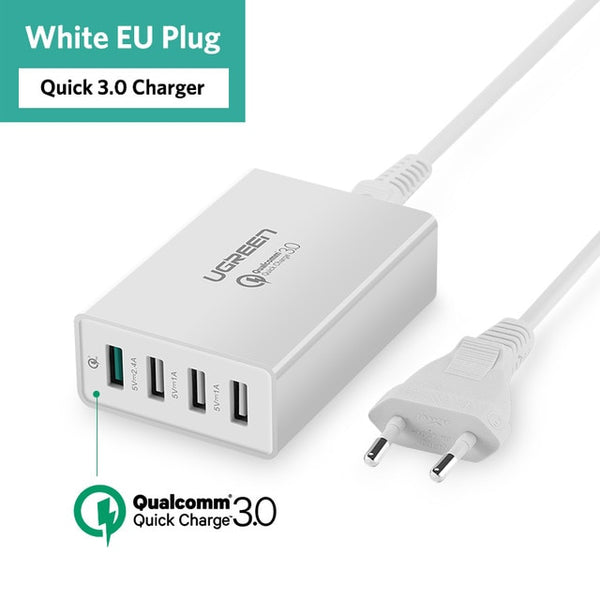 Ugreen 34W USB Charger Quick Charge 3.0 Fast Mobile Phone Charger for iPhone Samsung Xiaomi Tablet 4 Port Desktop QC 3.0 Charger
