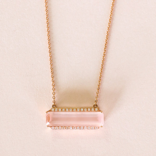 Rose Quartz Diamond Border Necklace