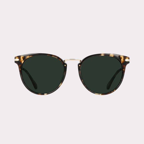 Norie Sunglasses - Brindle Tortoise + Green