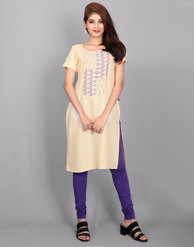 Cream Rayon Straight Cut Kurta