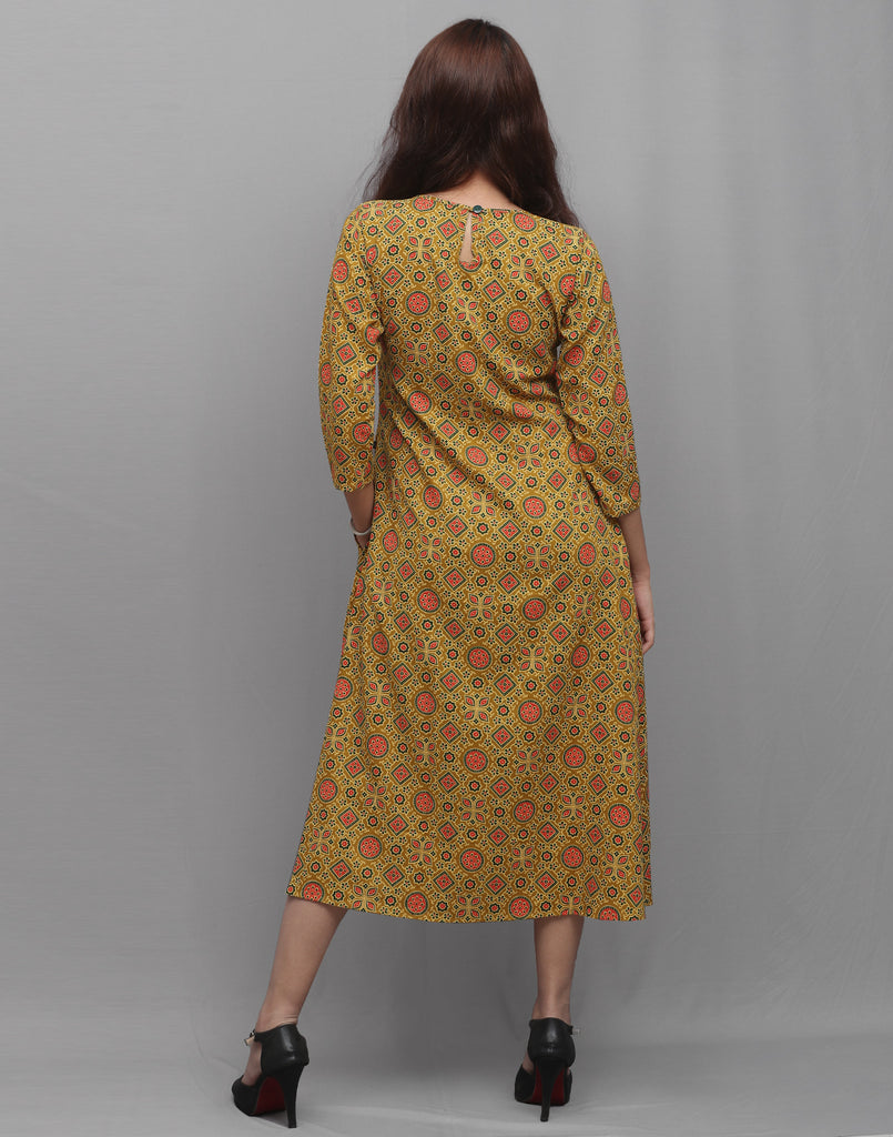Yellow Rayon Ajrakh Prints Pocket Kurta Dress