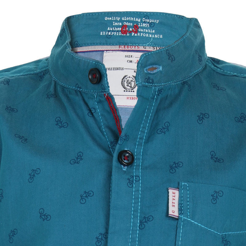 Ice Boys - Trendy Cycle Printed Teal Blue Cotton Full Sleeve Chinese Collar Shirts