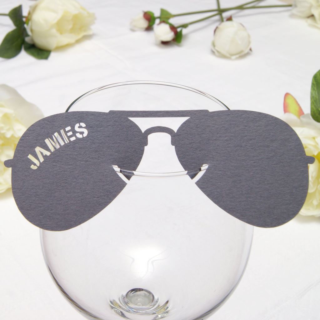 Aviator Sunglasses Place Card in Grey