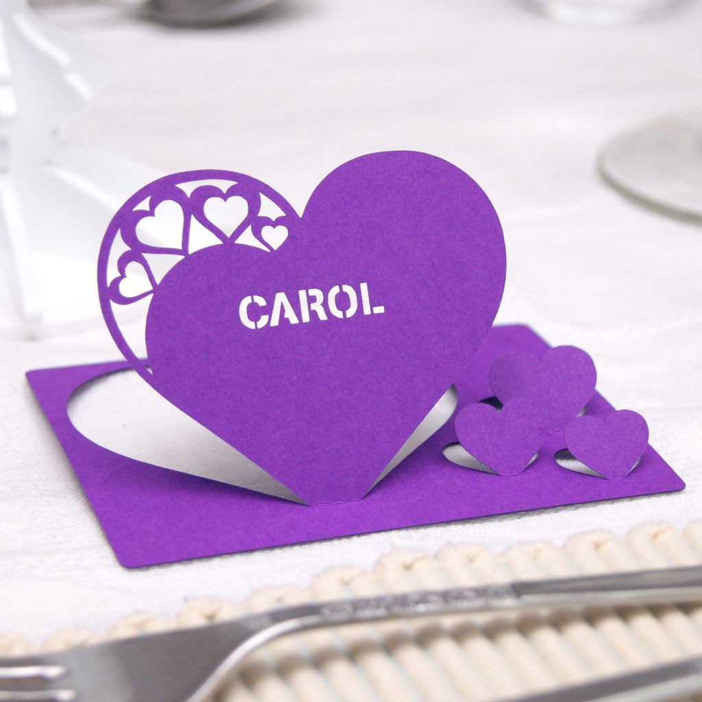 Detailed Heart Place Card in Purple