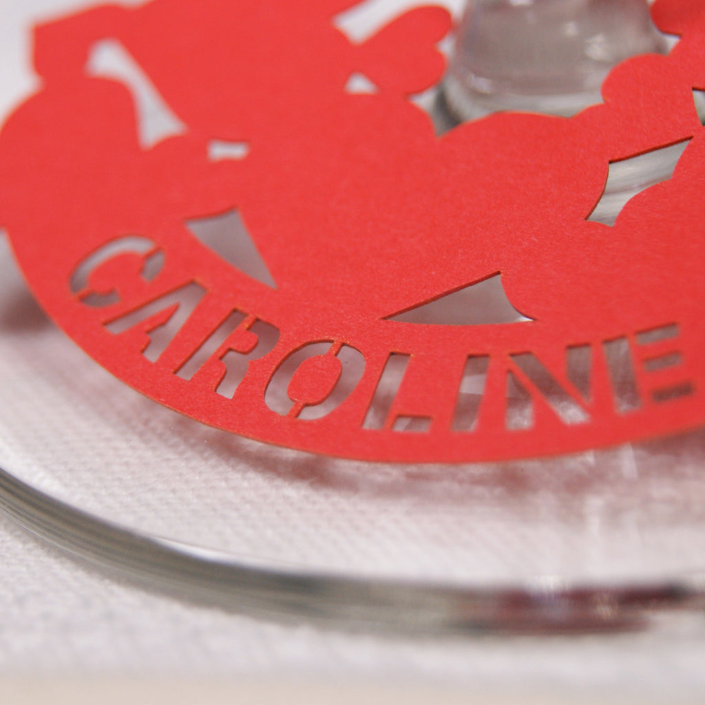 Multi-Heart Place Card in Bright Red