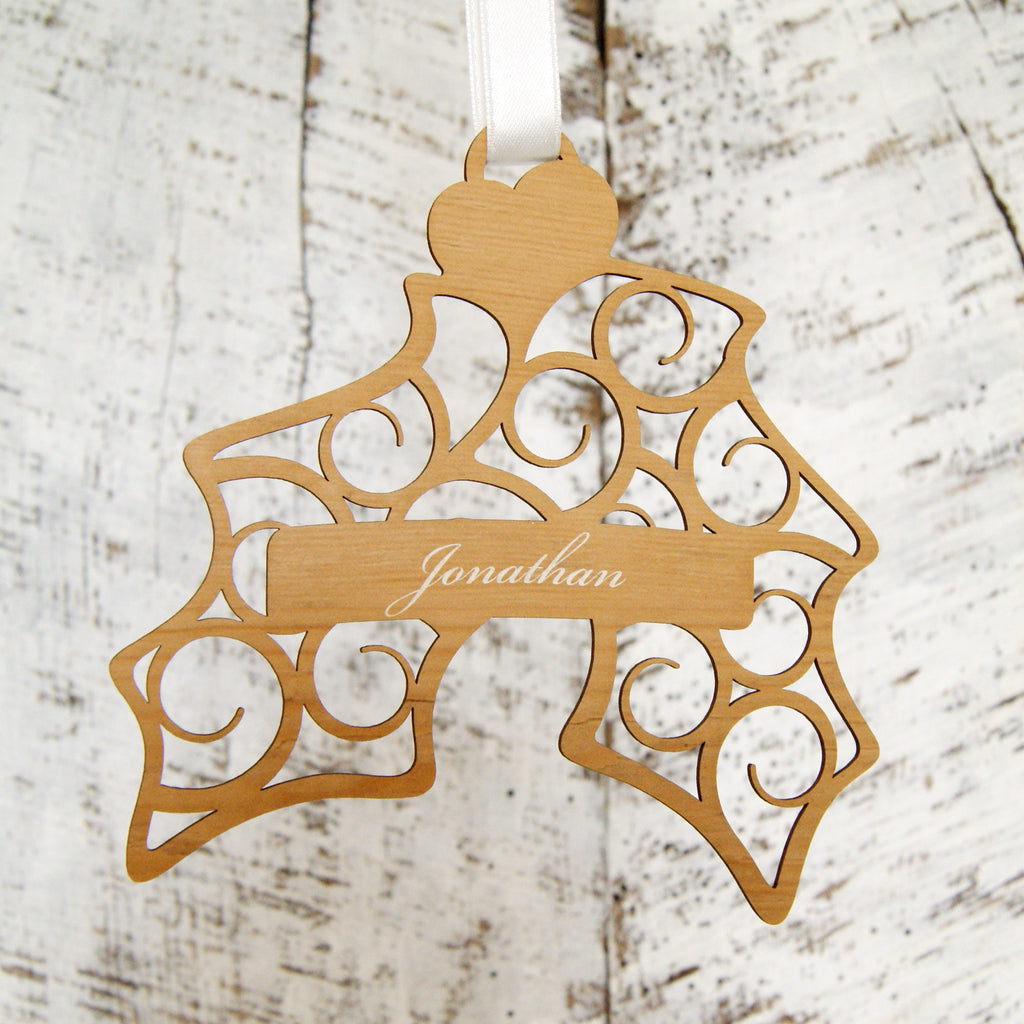 Personalised Christmas Decoration - Hanging Holly