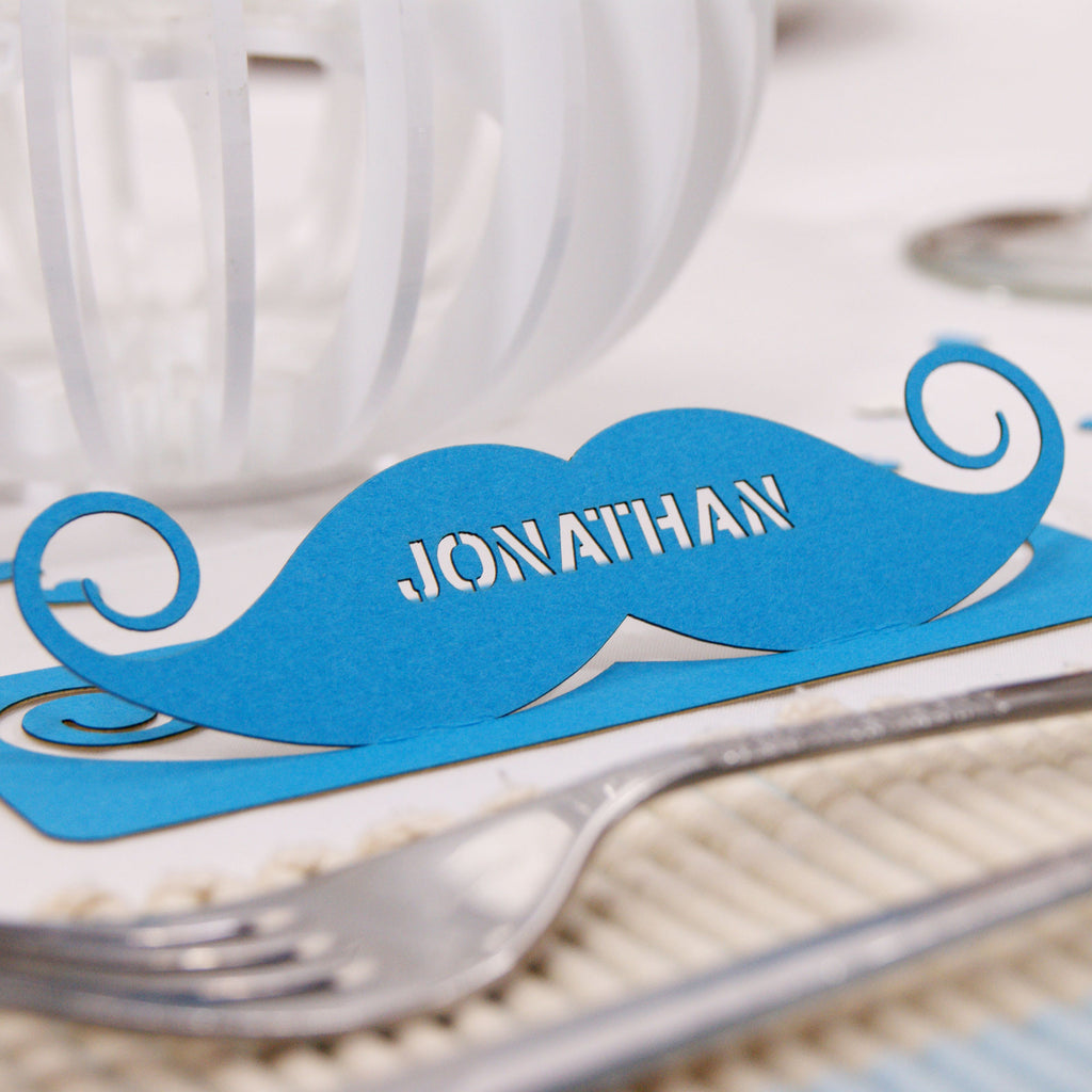 Moustache Place Card in Tabriz Blue (front)