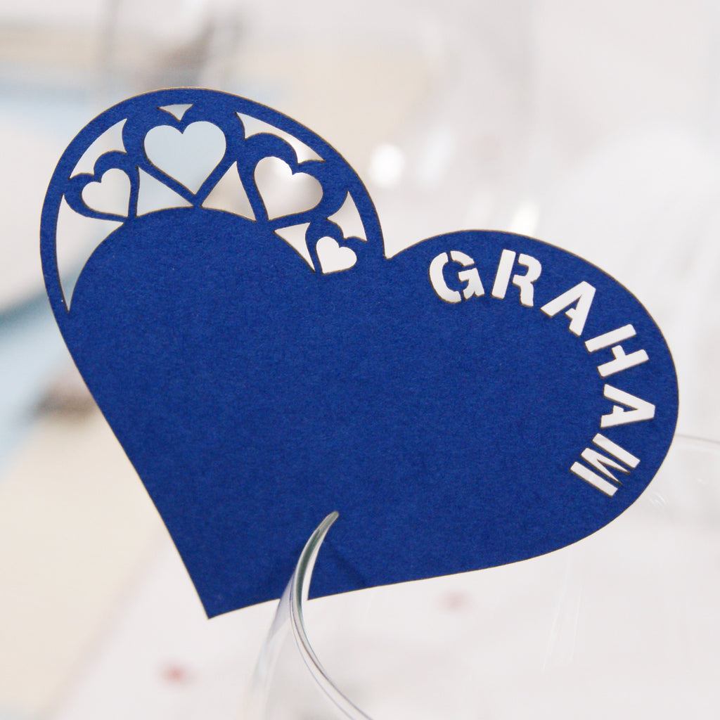 Detailed Heart Wine Glass Place Card in Sapphire