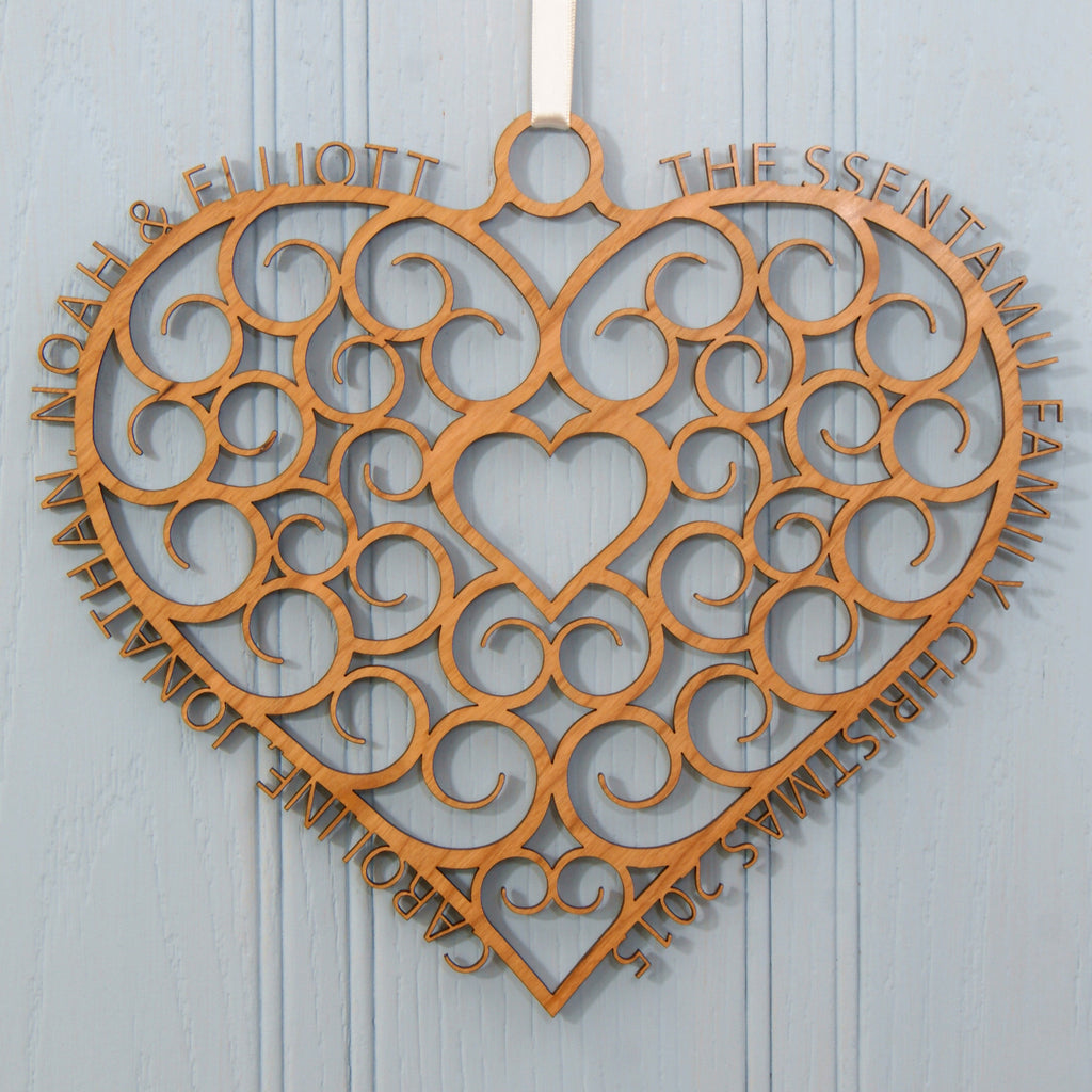 Personalised Christmas Heart Hanging Wreath
