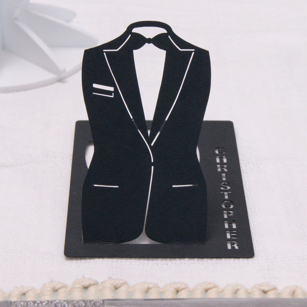 Suit Place Card in Black