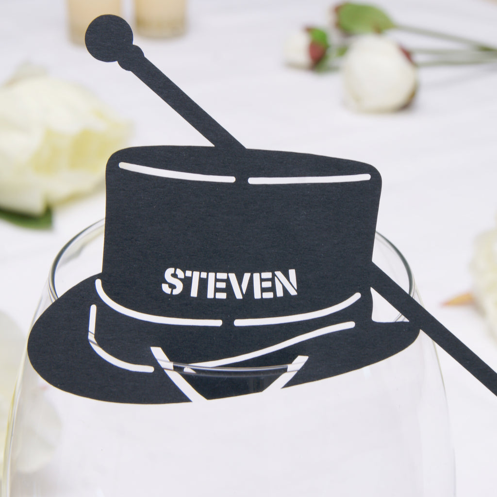 Top Hat Place Card in Black