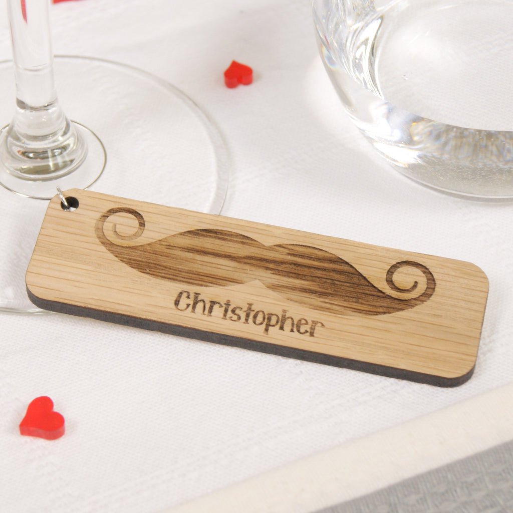 Personalised Moustache Wine Glass Charm