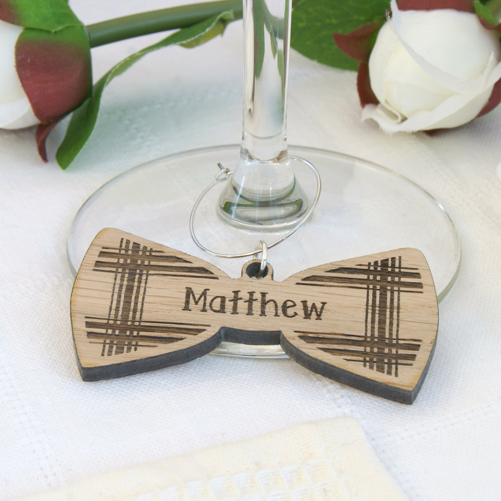 Personalised Wooden Tartan Bow Tie Wine Glass Charm
