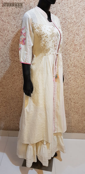 Aavarnam By Renu - Top With Embroidered Gotta Work Cape and Gotta Work Gharara - 2012D00045
