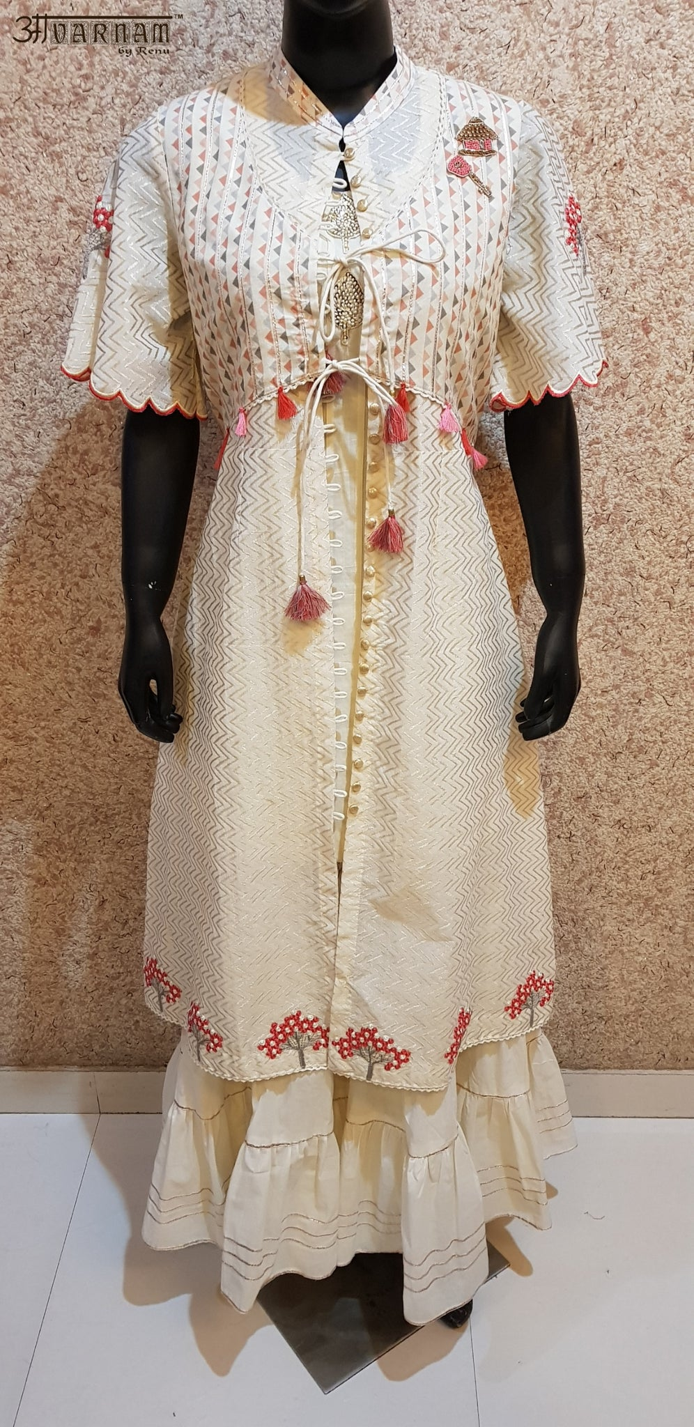 Aavarnam By Renu - Embroidered Shirt and Gotta Work Gharara - 2004D00047