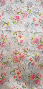 Embroidered Dupion Silk Fabric - F00120
