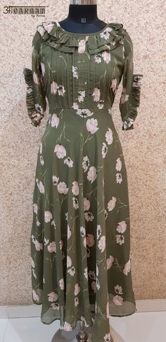 Aavarnam By Renu - Flared Floral Maxi Dress - EEVRK00714