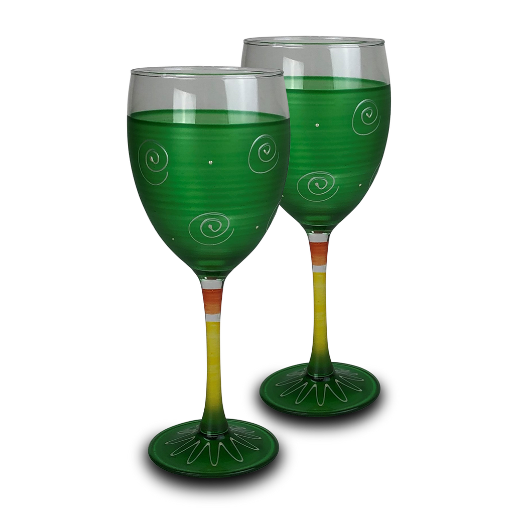 Peruvian Splendor Dk Green Wine   Set of 2