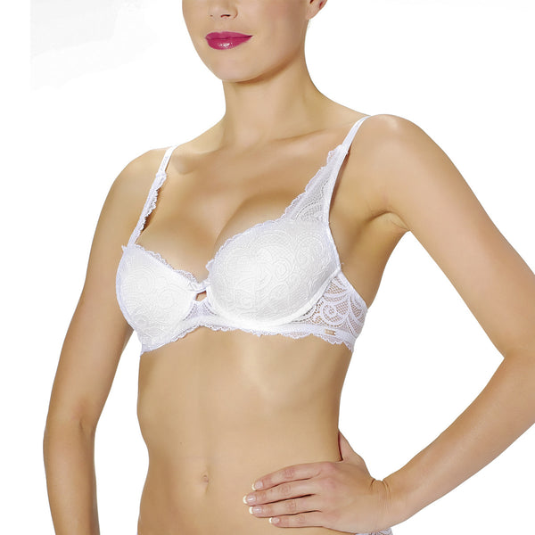 Rosy L'Amour Lace Padded Bra in Blanc White Wedding Lingerie frontview